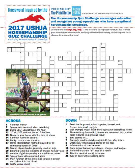March 2017 TPH Crossword- Inspired by the 2017 USHJA Horsemanship